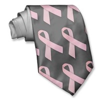 Pink On Black Breast Cancer Awareness Ribbon Tie