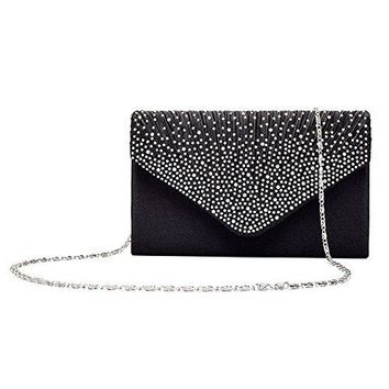 Gyeitee Women Rhinestone Frosted Evening Clutch Bag Classic Pleated Envelope Clutch Handbag