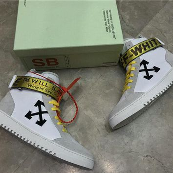 OFF-WHITE HIGH-TOP SNEAKERS White high top sneakers with industrial belt strap closure white