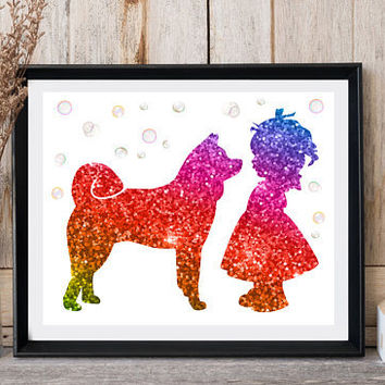 Akita art Girl baby room decor Dog print art Little girl with dog Bubbles print Glitter rainbow Akita dog print Large poster Ready for print