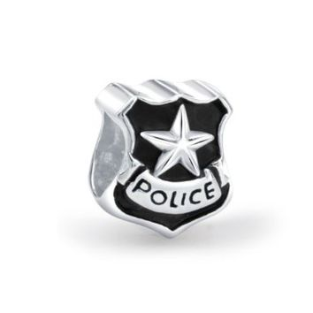 Bling Jewelry Patriotic 925 Silver Police Badge Cop Shield Bead Fits Pandora
