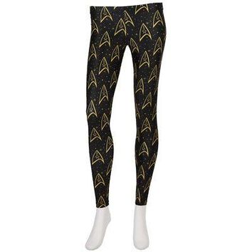 Star Trek Starfleet Insignia Logo Licensed Women's Junior Leggings - Black