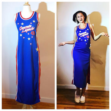 90s Jersey Dress by Concrete Legends Blue Basketball Athletic Hip Hop Form Fitting Sleeveless Dress Number 43 size Small