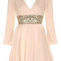 Roman Holiday Dress | Peach Long-Sleeve Sequin Dresses | RicketyRack.com