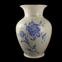 Table Vase, Germany, 24K Gold Trim, Blue and White, Floral, Large, Centerpiece, Flower Vase
