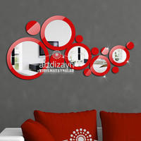Modern wall mirror,  Shatterproof  mirror and red decor, living room design,  wall decor