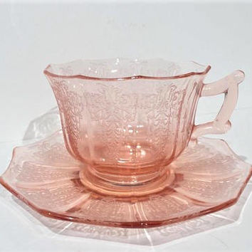 Cambridge Cleo Pink Depression Glass Teacup and Saucer, 2 Available!!