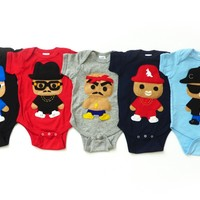 Handmade Felt Appliqued Famous Rapper Bodysuit Onesuits - Available in Different Colors by Mi Cielo - Whimsical & Unique Gift Ideas for the Coolest Gift Givers