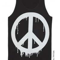 Dripping Peace Symbol Sign Charcoal Black Tank Top Singlet Vest Tunic Sleeveless Women Tee Shirt Art Indie Punk Rock Music T-Shirt Size S-M