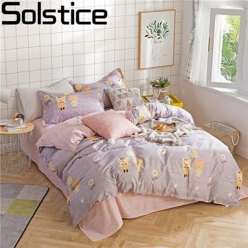 Solstice Home Textile Lovely Fox Kid Teen Bedding Set Flower Pink Girl Linen Duvet Cover Pillowcase Stripe Flat Sheet Queen Full