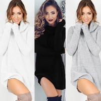 Women Winter Fall Long Sleeve Knit Bodycon Party Sweater Short Mini Jumper Dress