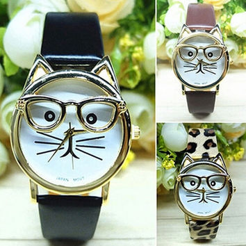 Women Fashion Cute Glasses Cat creative case Leather Strap Bracelet creative watches Girls Analog Quartz Casual Cool Wrist creative watch