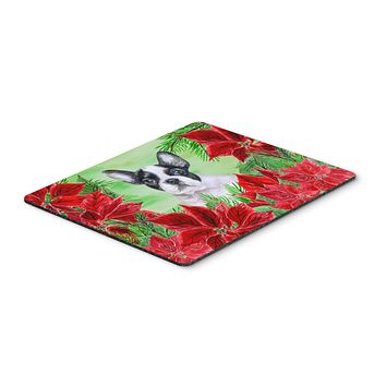 French Bulldog Black White Poinsettas Mouse Pad, Hot Pad or Trivet CK1358MP
