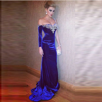 Appliques Long Sleeve Evening Dress Formal Party Gown robe de soiree 2017 Fashion Prom Dresses 3044