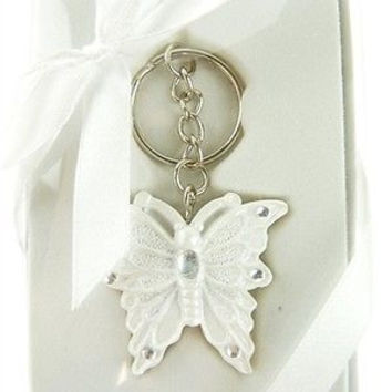 Wedding Bridal Shower Anniversary Party Favor Souvenir Gift Keepsake Ready Made, Key Chain, Butterfly