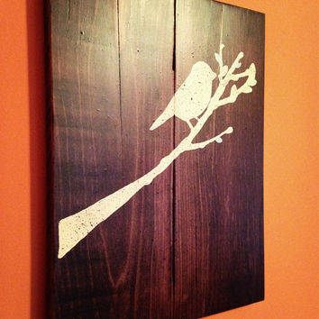Hand Painted Bird on a Branch Pallet Wall Hanging