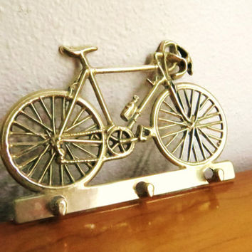 Vintage Brass Bicycle Key Rack, Bike Key Holder, Schwinn 10 Speed, Key Hanger, 1970's