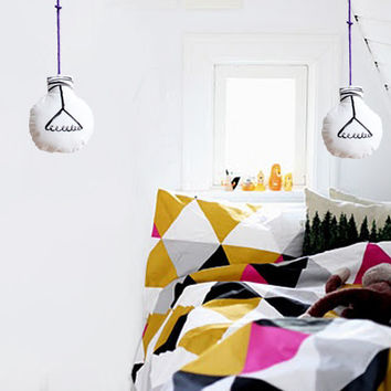 Fabric light bulb, Black and White with pruple textile cable, Stuffed toys.