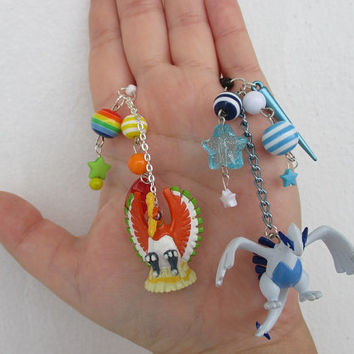 2x Pokémon Cell Phone Charms SET  - Lugia & Ho-oh - Bff phone charms - HIS and HERS -  Pokemon phone charm