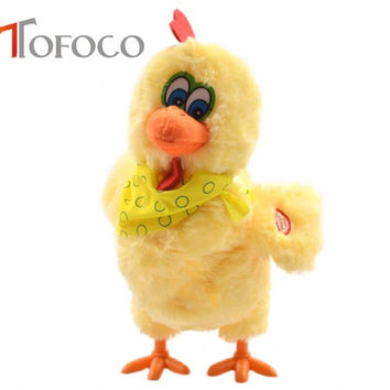 TOFOCO 30cm Funny Electric Laying Eggs Hens Novelty Crazy Singing and Dancing Electronic Plush Pets X-mas Gift!