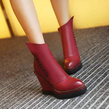 Studded Wedges Boots Women Shoes Fall|Winter 2122
