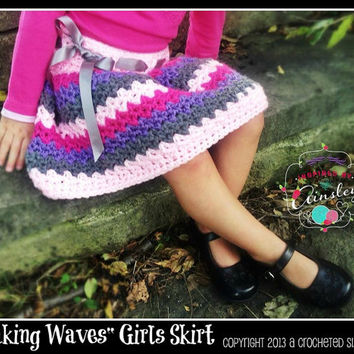 "Crochet Pattern: ""Making Waves"" Girls Skirt, Newborn Thru Adult Permission to Sell Finished Items"