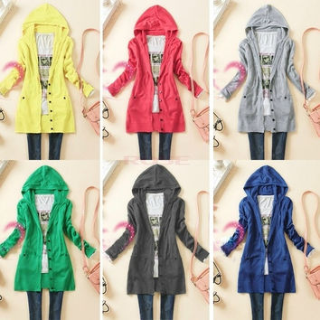 Women Long-sleeve Knitted Sweater Outerwear Med Long Warm Hooded Cardigan  One size 18317 Knitwear = 1920545476