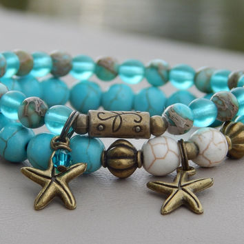 Set of 2 Turquise Bracelets with Starfish