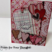 Love You With All My Heart Handmade Valentine Ready to Ship.