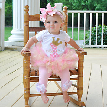 Baby Girl First Birthday Tutu Outfit -- Royal Princess -- bodysuit, leg warmers, tutu, Over The Top bow in pink and gold