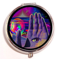 All Seeing Eye Trippy Pill box Pillbox Case Holder - Hand in Eye Metaphysical - Psychedelic Visionary Music Festival Stash Box Universe