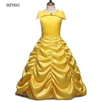 DZYECI Beauty And The Beast Dress For Girl Belle Costume Child Deguisement Elza Carnaval Christmas Kid Sling Bridesmaid Prom