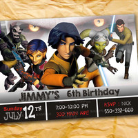 Star Wars Rebels War  the beautiful personalized birthday invitation card as a digital file