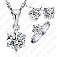 Jewelry Set 925 Sterling Silver Crystal Necklace Ring Earring 3 pcs Set