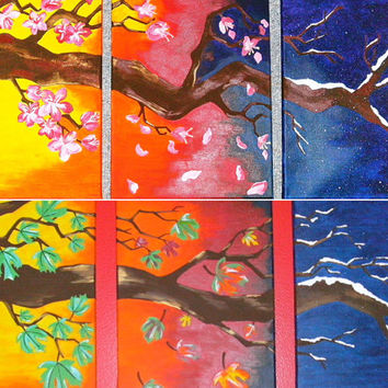 Custom Tree with Seasons Triptych Colorful Acrylic Painting 9x12 or 11x14 inches with Flowers or Leaves, Nature Painting, Triptych Painting