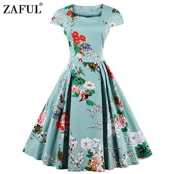ZAFUL Women plus size clothing Audrey hepburn 50s Vintage Flower Print robe feminino Ball Gown Party Retro Dress Vestidos