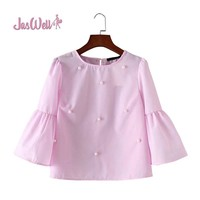 Jaswell Summer Women Fashion  Loose Casual Solid Shirt Blouse Elegant Pearls O-neck Three Quarter Flare Sleeve Tops Blusas