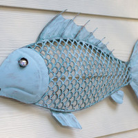 Beach Wall Decor Metal Fish - Ocean Blue