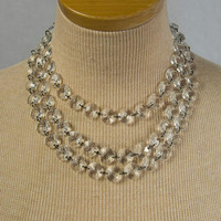 Vintage 1950s 3 Strand Lucite Pin-up Choker Necklace