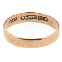 1910 Birmingham 9K Rose Gold Antique Wedding Band - Larger Size
