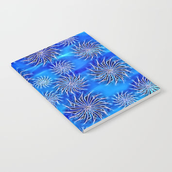 Abstract Spinning Stars Mixed Blue Pattern - mix size circles in move, silver on azure sea theme Notebook by Casemiro Arts - Peter Reiss