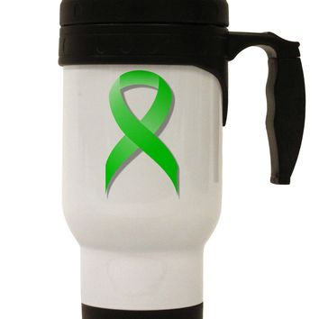Lyme Disease Awareness Ribbon - Lime Green Stainless Steel 14oz Travel Mug