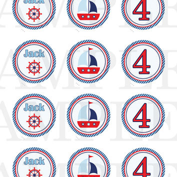 Nautical Cupcake Topper, Tags - Nautical sticker - Nautical Birthday Baby Shower - Sail party - Nautical printable