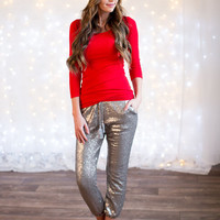 Silver Sequin Jogger Pants