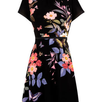 FLORAL PLACEMENT SKATER DRESS