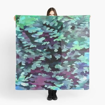 'Foliage Abstract Pop Art In Teal, Blue and Green' Scarf by taiche