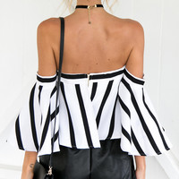 White Stripe Off Shoulder Flared Sleeve Crop Top