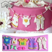 3D Baby Clothes Shower Silicone Mould Fondant Kitchen Cake Mold For Chocolate Decorating Baking Tool Moldes De Silicona Para