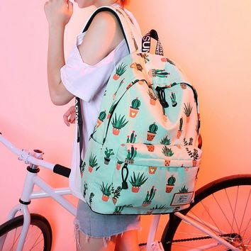 Day-First™ Women's Canvas Cactus Teenage School Backpack Fashion Travel Bag Daypack