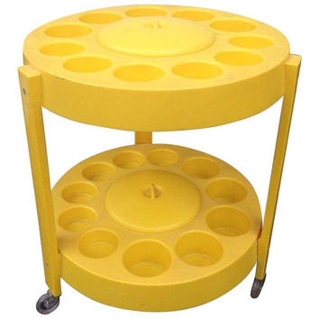 Yellow Plastic Bar Cart 1960s